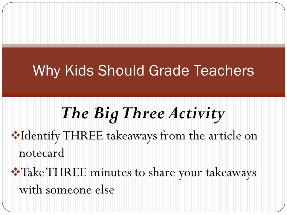 Why Kids Should Grade Teachers