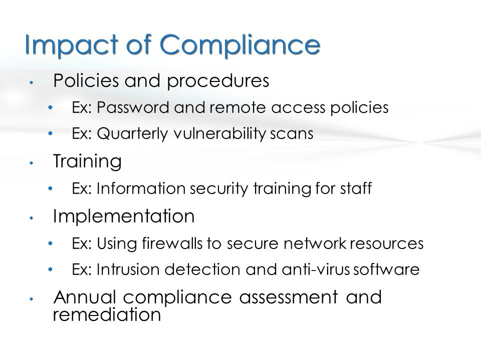Impact of Compliance Policies and procedures Training Implementation