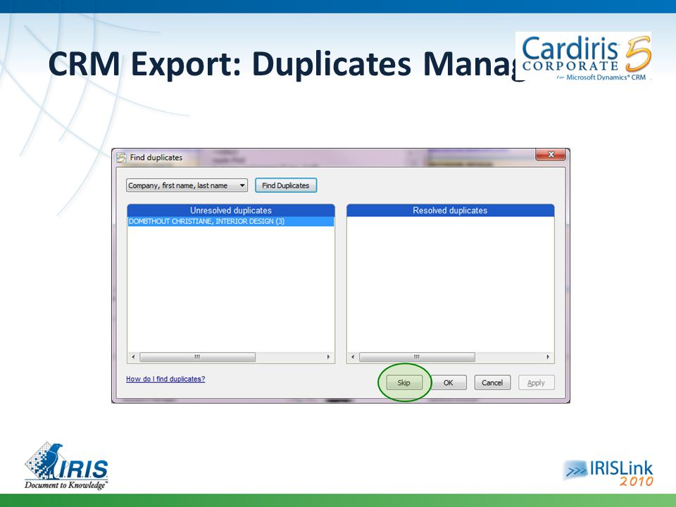 CRM Export: Duplicates Management