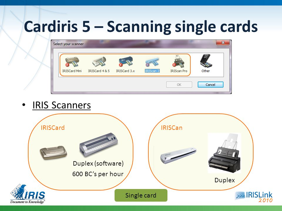 Cardiris 5 – Scanning single cards