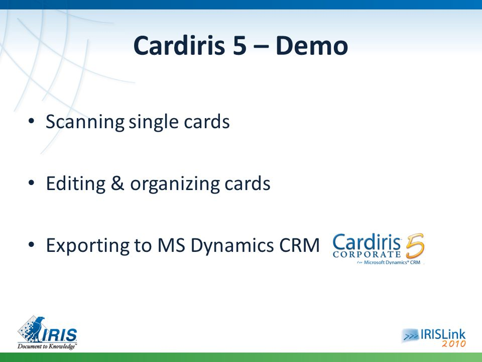 Cardiris 5 – Demo Scanning single cards Editing & organizing cards