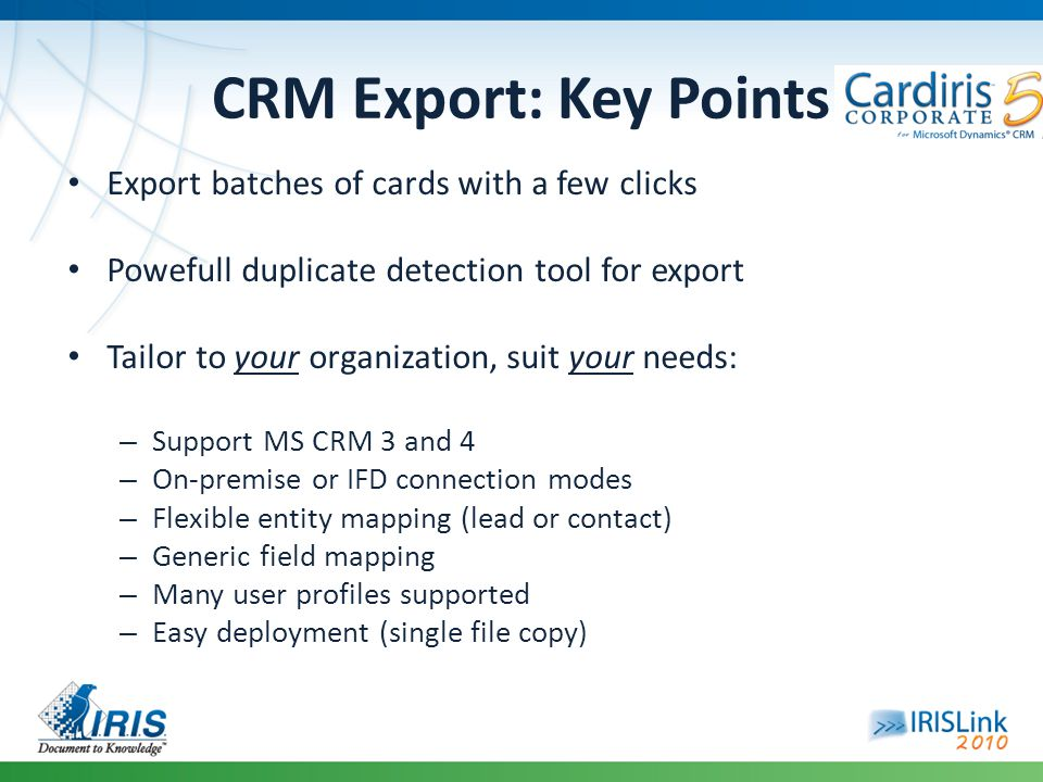 CRM Export: Key Points Export batches of cards with a few clicks