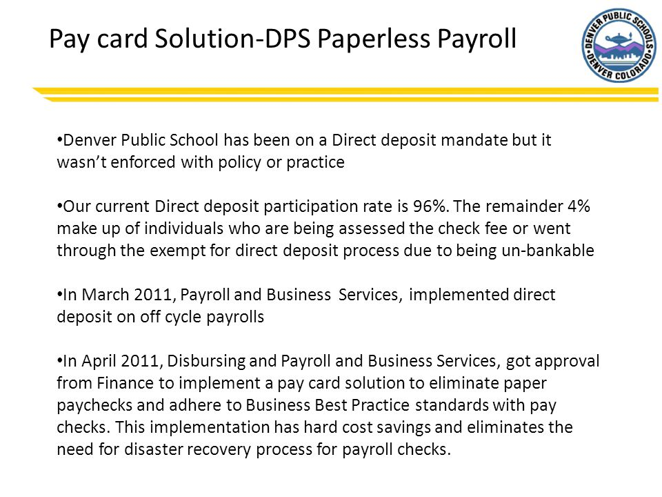 Pay card Solution-DPS Paperless Payroll