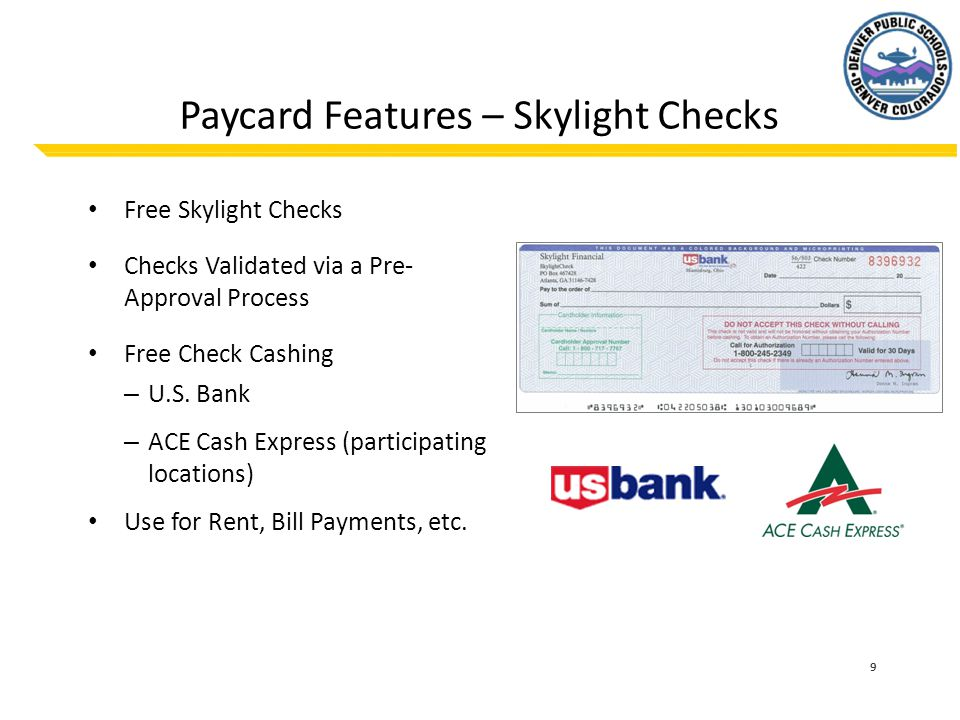 Paycard Features – Skylight Checks