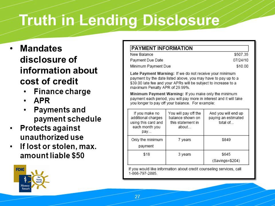 Truth in Lending Disclosure