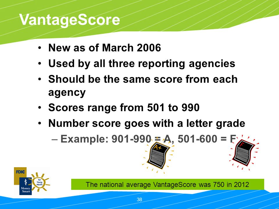 The national average VantageScore was 750 in 2012