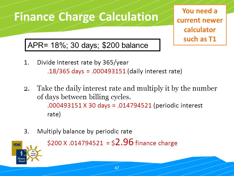 Finance Charge Calculation