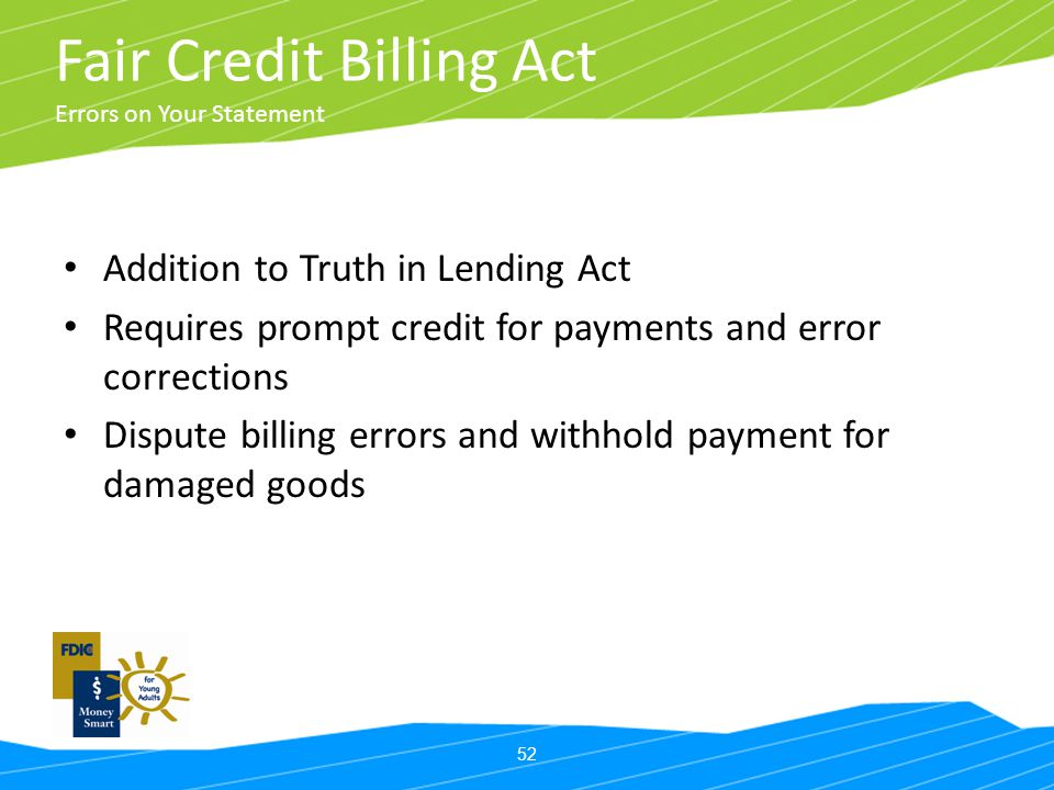 Fair Credit Billing Act Errors on Your Statement