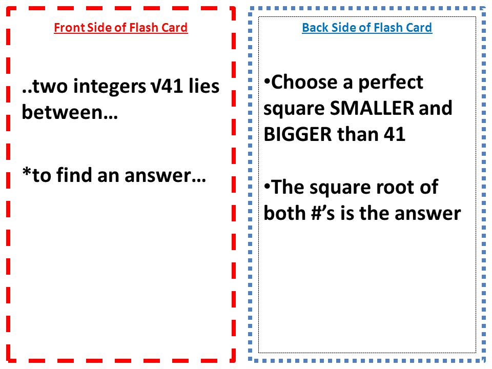 Front Side of Flash Card