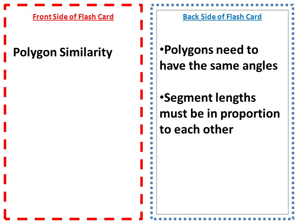 Front Side of Flash Card Polygon Similarity