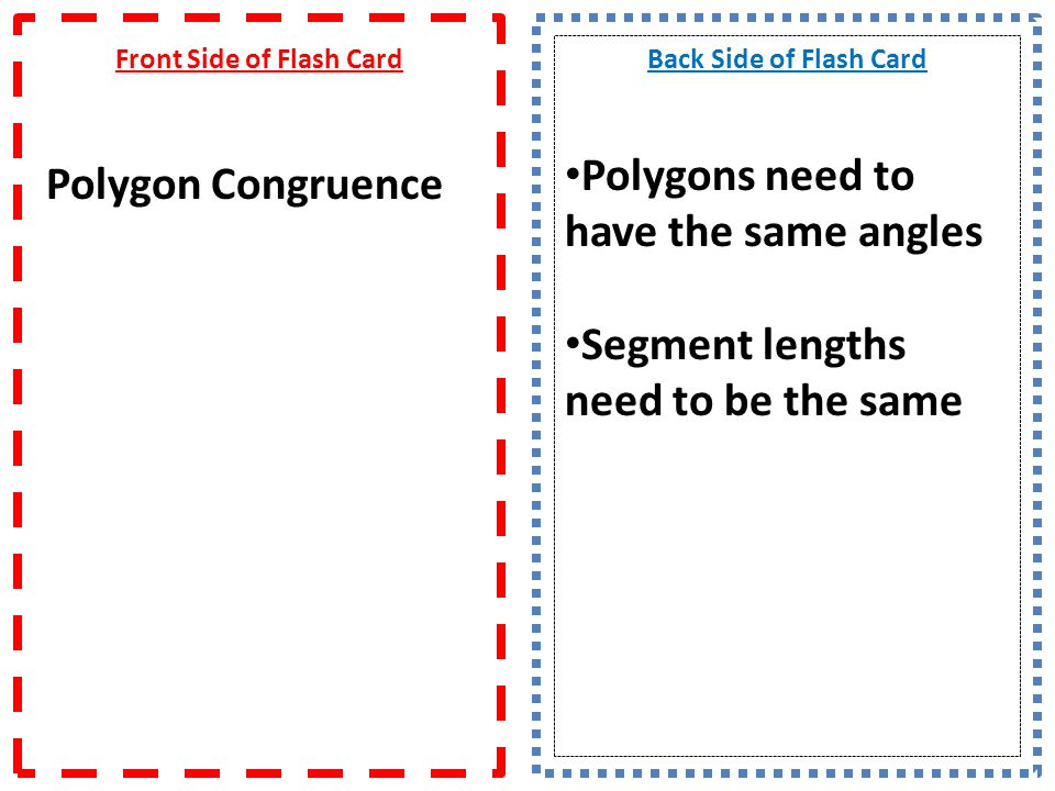 Front Side of Flash Card Polygon Congruence
