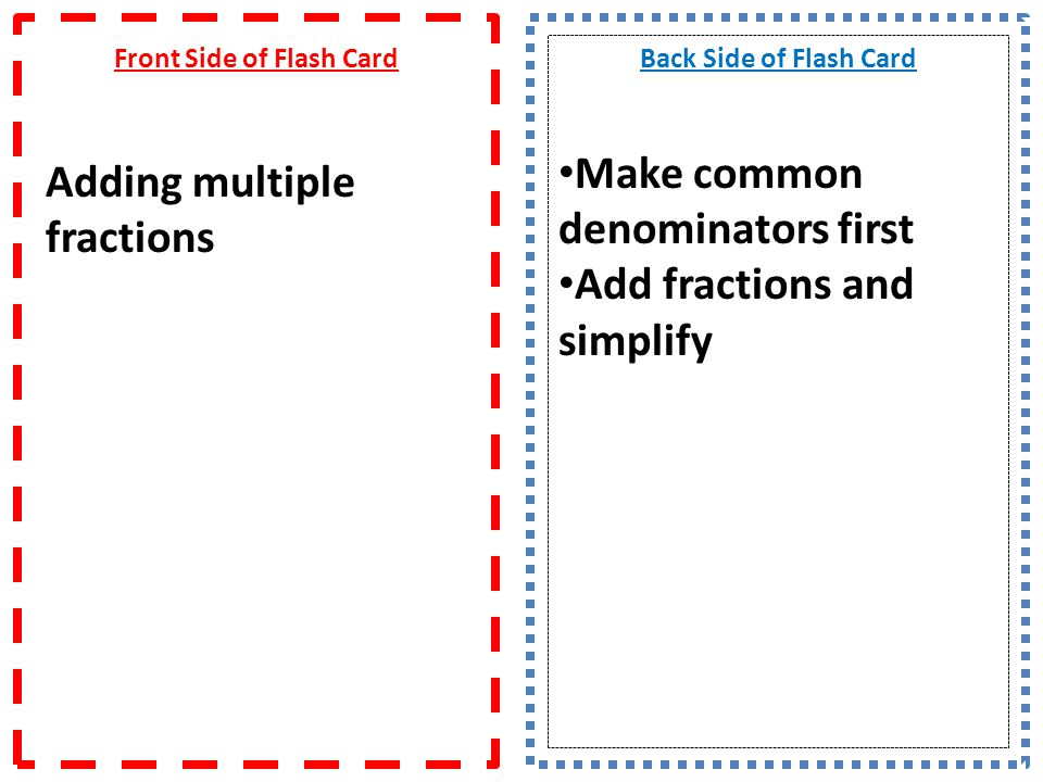 Front Side of Flash Card Adding multiple fractions