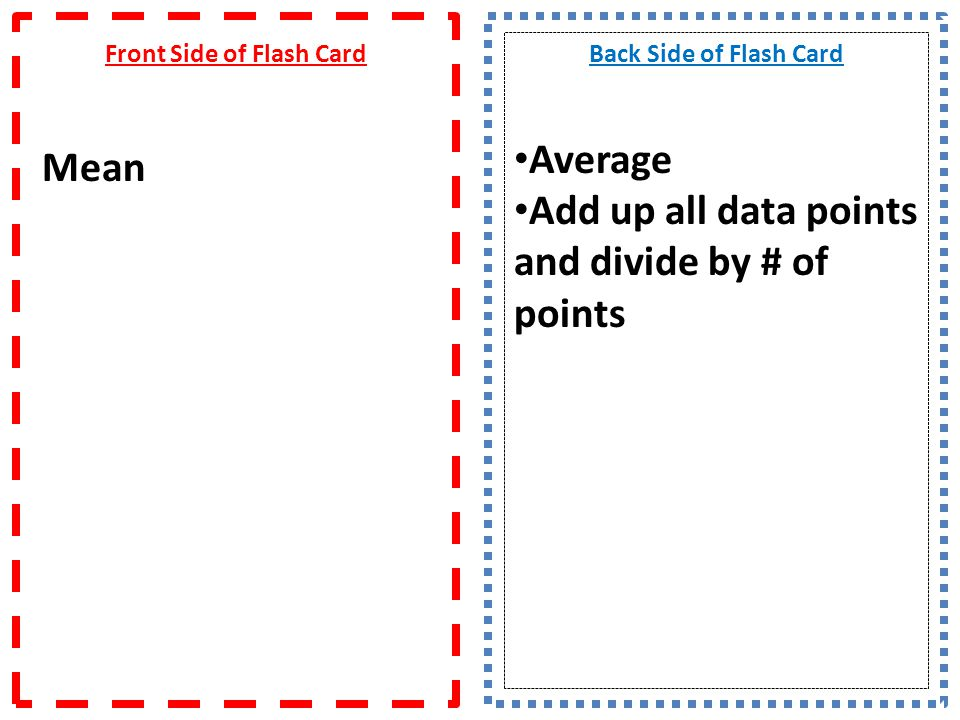 Front Side of Flash Card Mean
