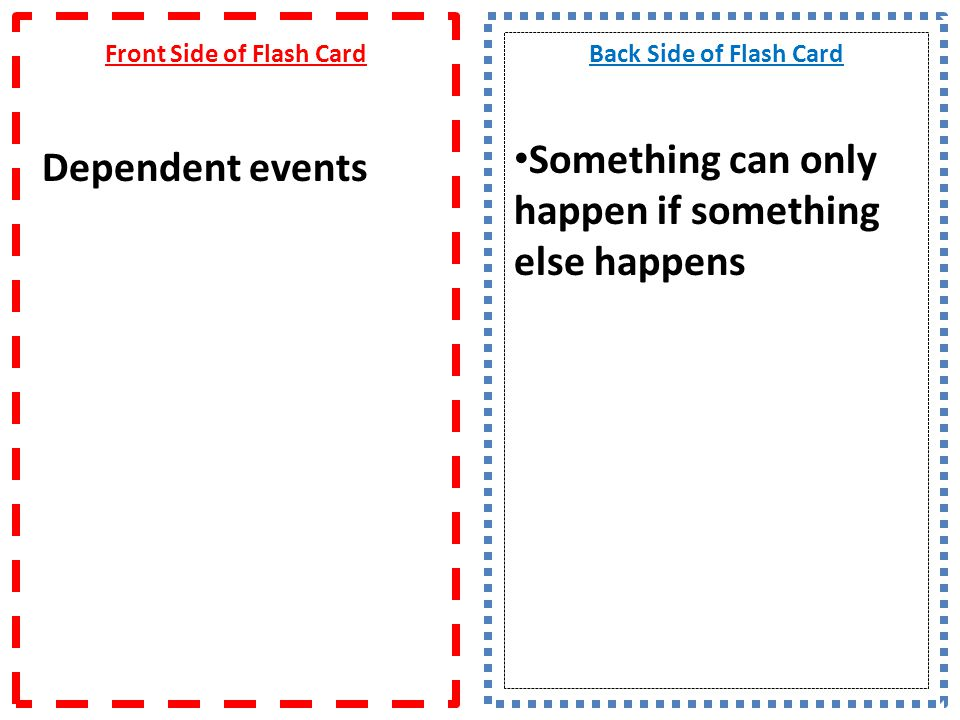 Front Side of Flash Card Dependent events
