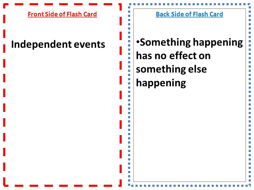 Front Side of Flash Card Independent events