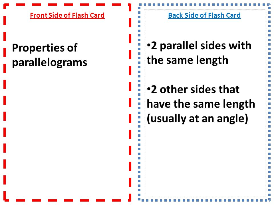 Front Side of Flash Card Properties of parallelograms