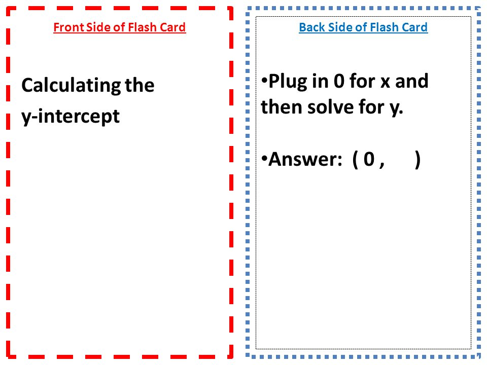 Front Side of Flash Card Calculating the y-intercept