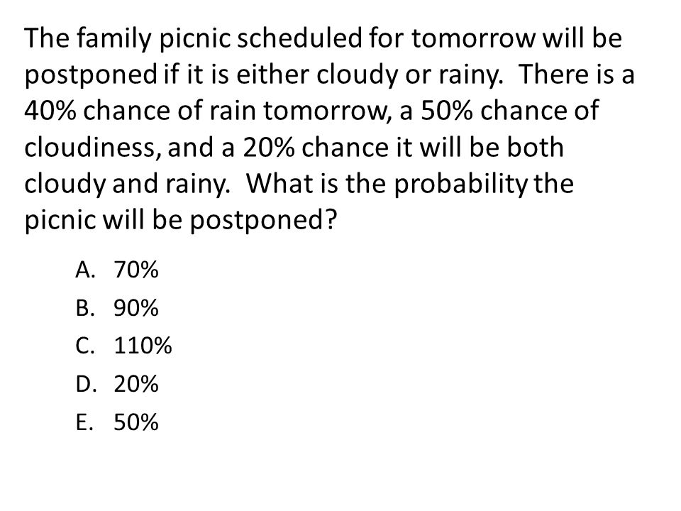 The family picnic scheduled for tomorrow will be postponed if it is either cloudy or rainy. There is a 40% chance of rain tomorrow, a 50% chance of cloudiness, and a 20% chance it will be both cloudy and rainy. What is the probability the picnic will be postponed