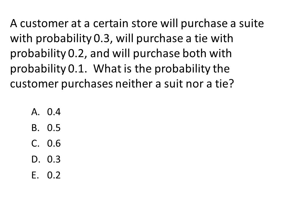 A customer at a certain store will purchase a suite with probability 0
