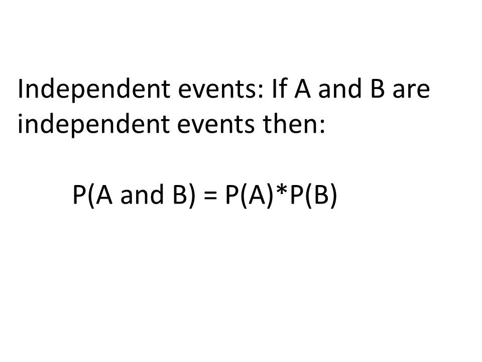 Independent events: If A and B are independent events then:
