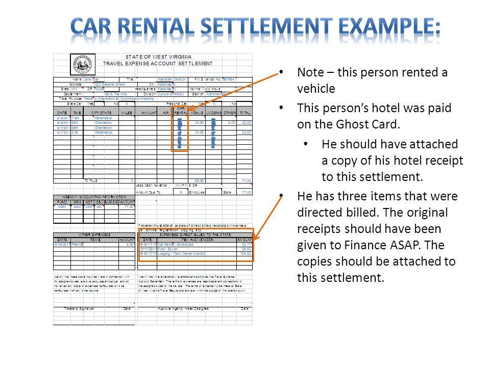 Car rental Settlement Example: