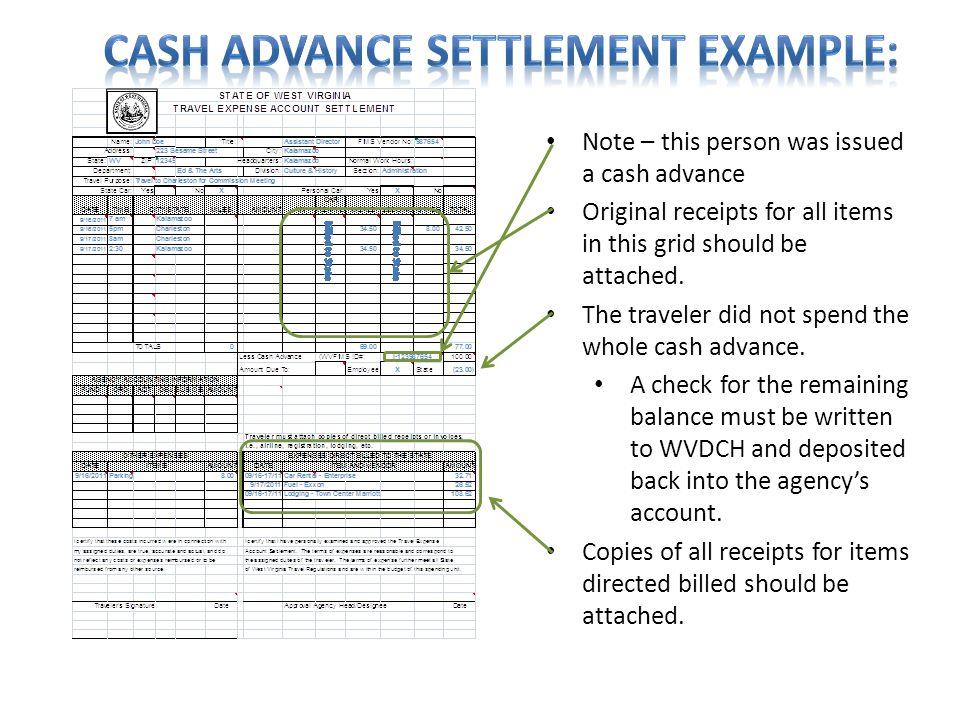 Cash Advance Settlement Example:
