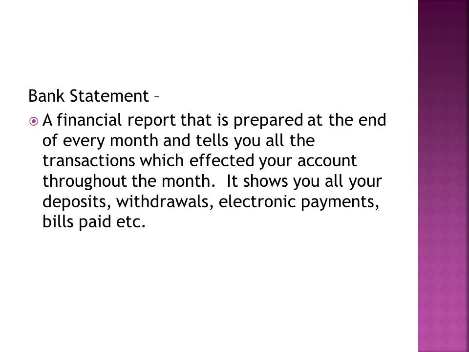 Bank Statement –