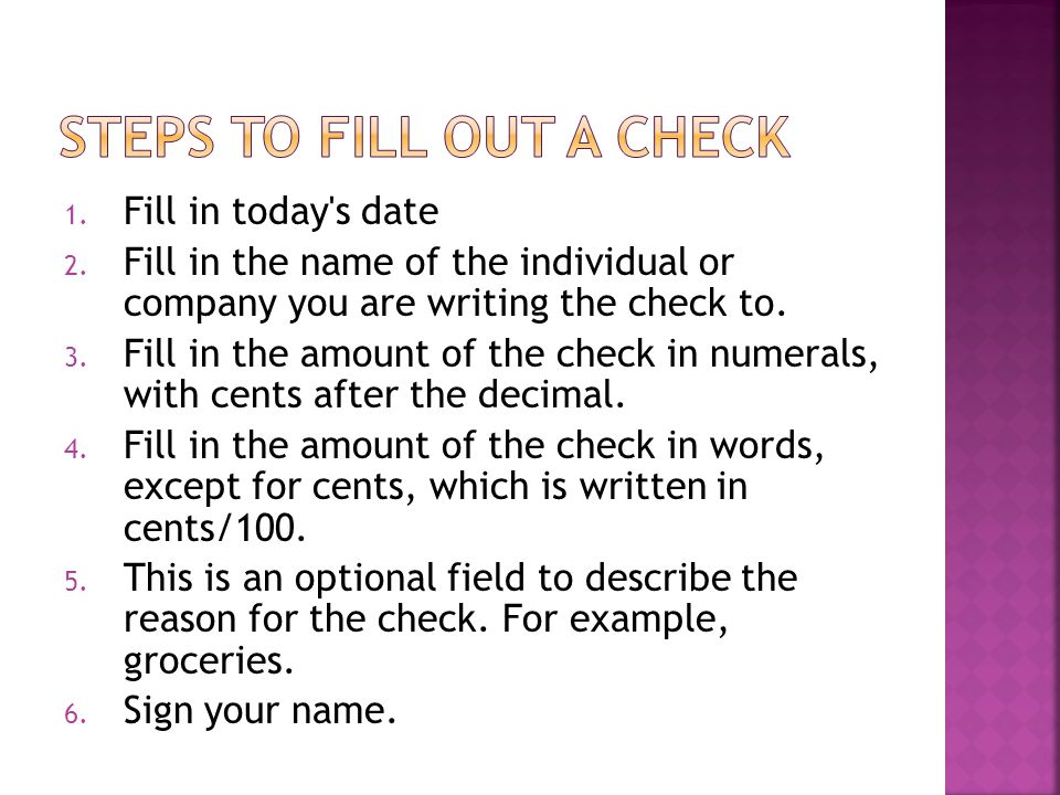 Steps to fill out a check
