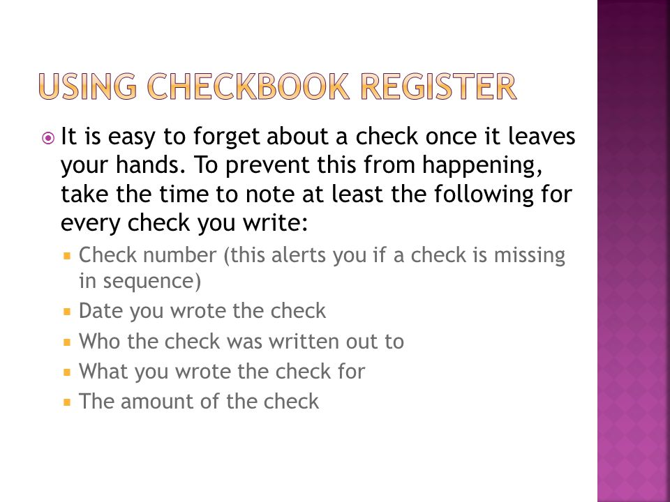 Using Checkbook Register