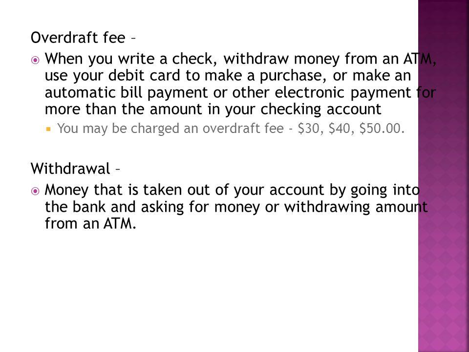 Overdraft fee –