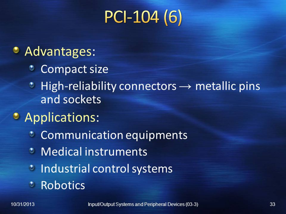 Input/Output Systems and Peripheral Devices (03-3)