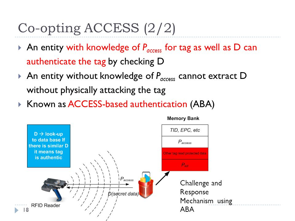 Co-opting ACCESS (2/2) An entity with knowledge of Paccess for tag as well as D can. authenticate the tag by checking D.