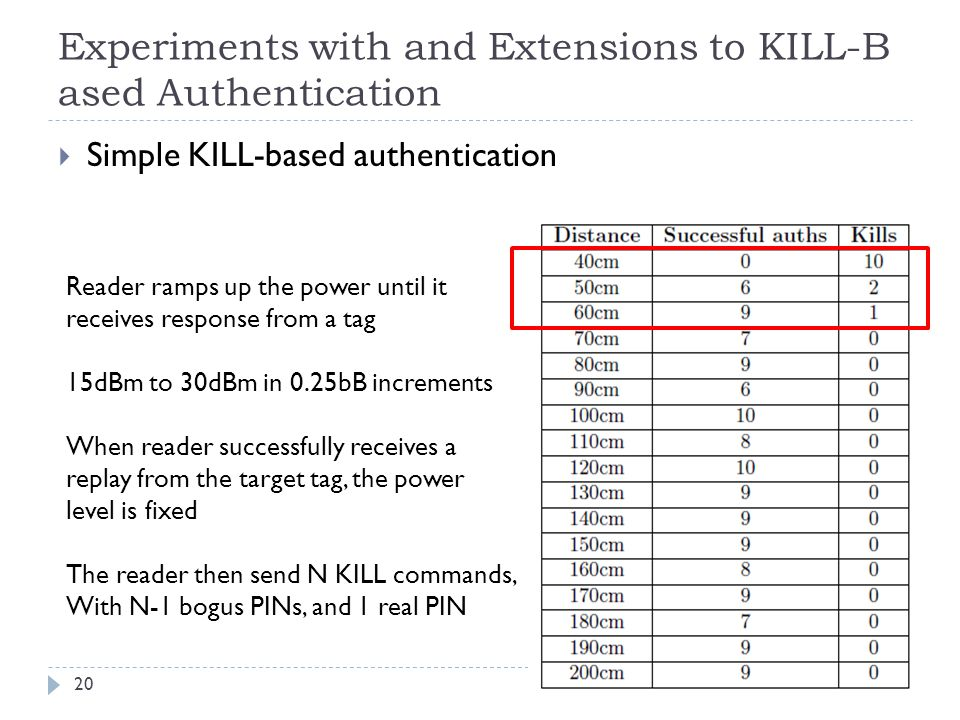 Experiments with and Extensions to KILL-Based Authentication