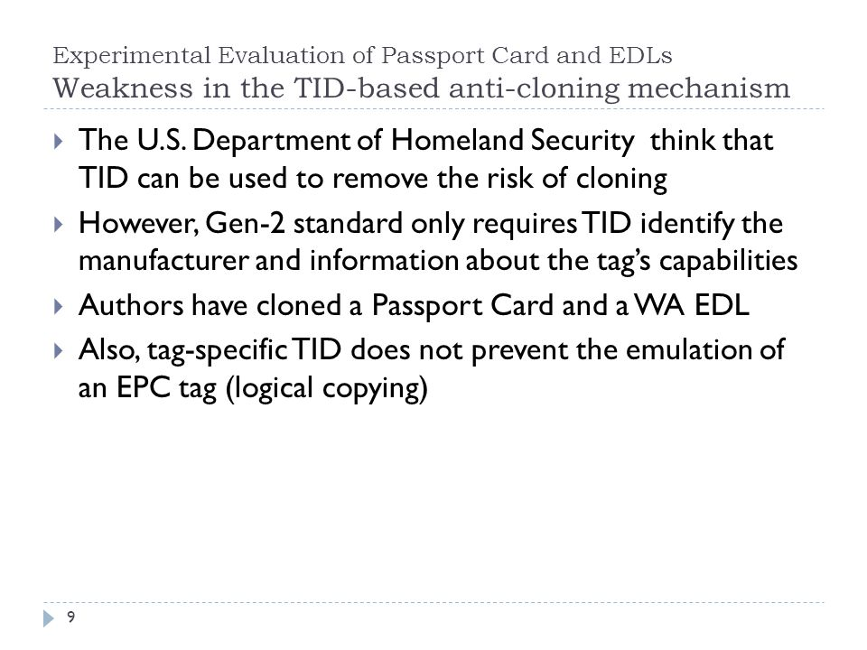 Authors have cloned a Passport Card and a WA EDL