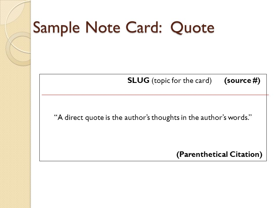 Sample Note Card: Quote