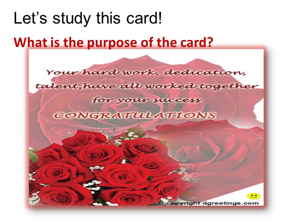 Let's study this card! What is the purpose of the card
