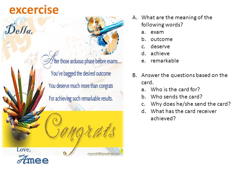 excercise Della, Amee What are the meaning of the following words