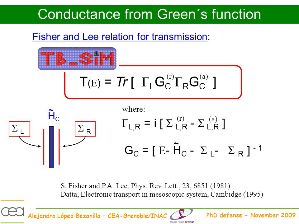 Conductance from Green´s function