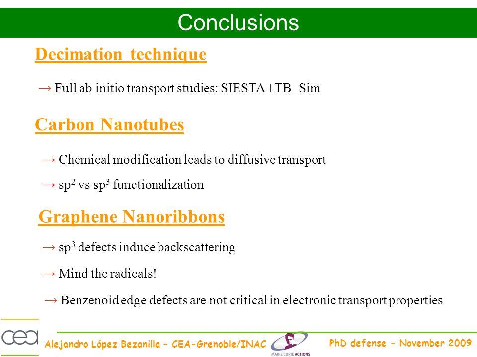 Conclusions Decimation technique Carbon Nanotubes Graphene Nanoribbons