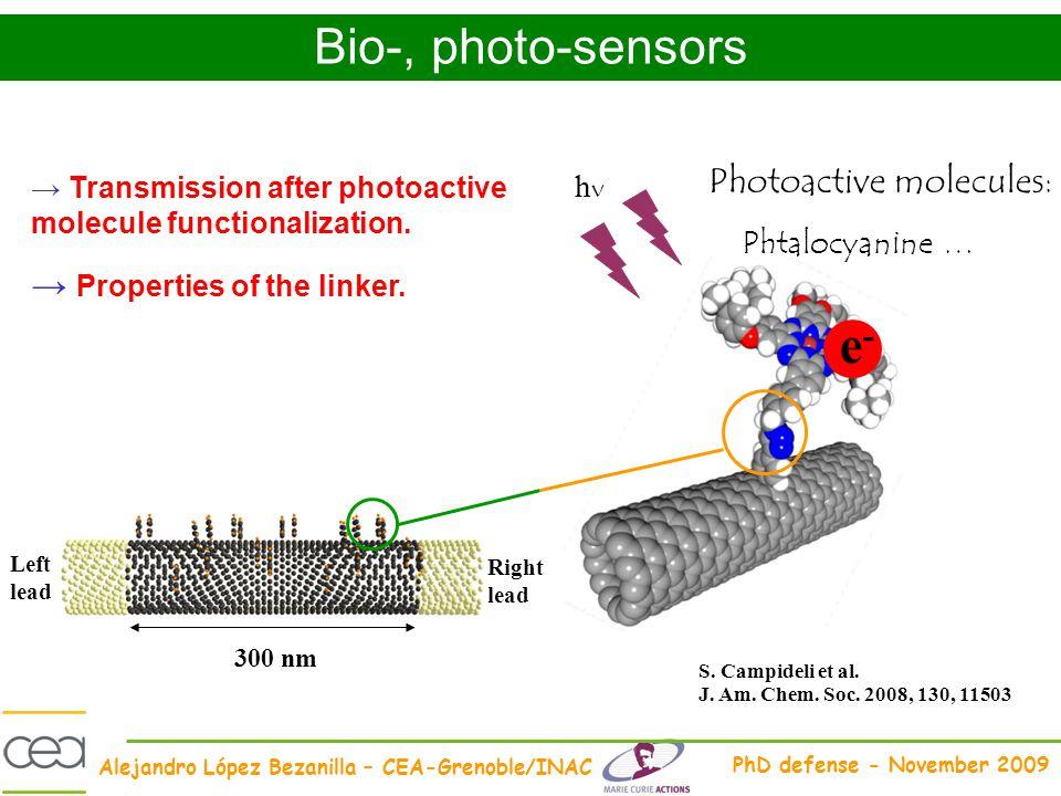 e- Bio-, photo-sensors Photoactive molecules: