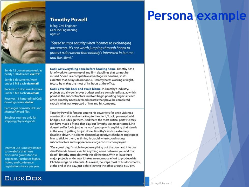 Persona example Relate to the civil engineering database from earlier lectures.
