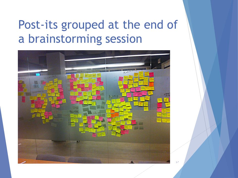 Post-its grouped at the end of a brainstorming session