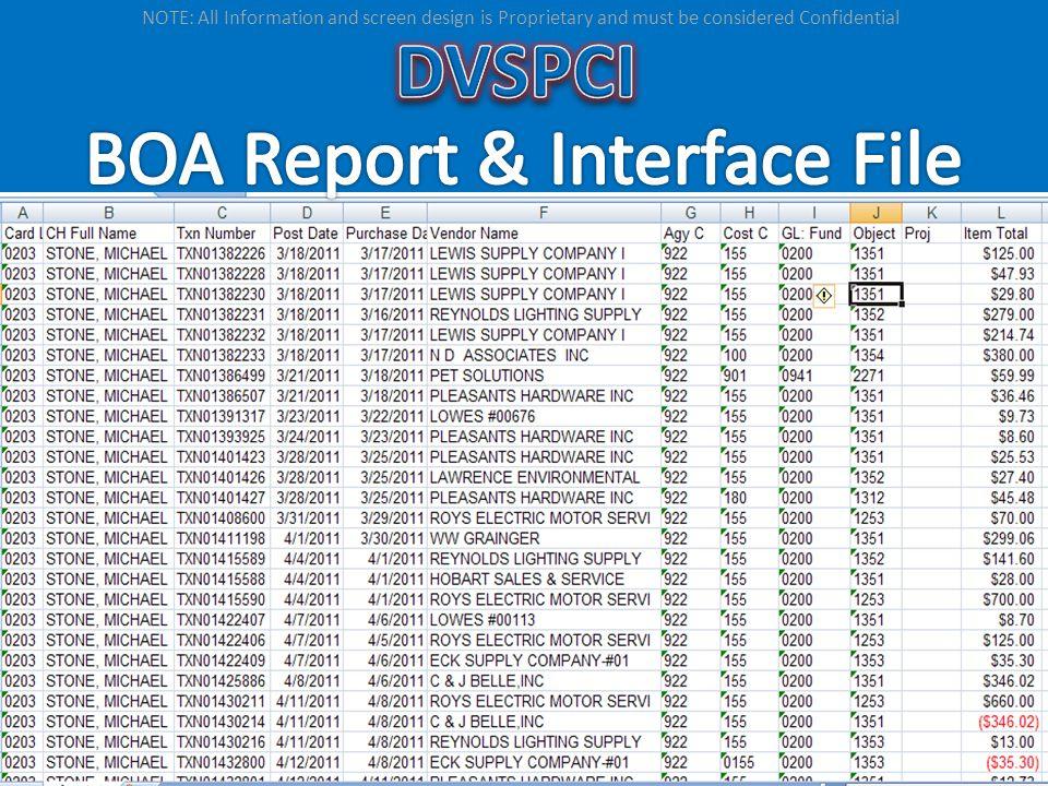BOA Report & Interface File