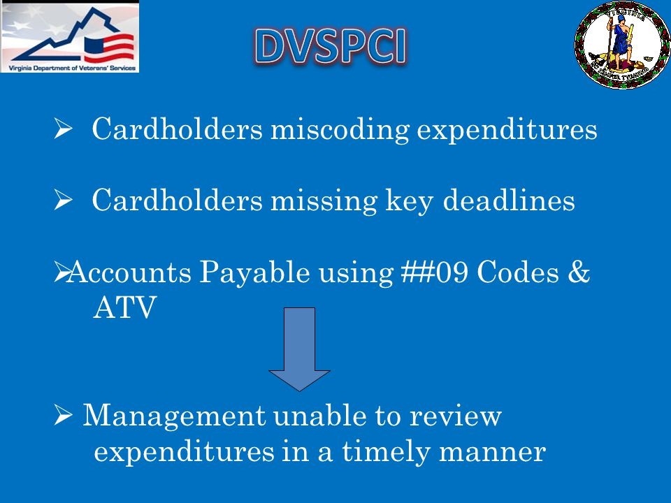 DVSPCI Cardholders miscoding expenditures