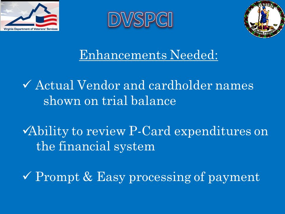 DVSPCI Enhancements Needed: Actual Vendor and cardholder names