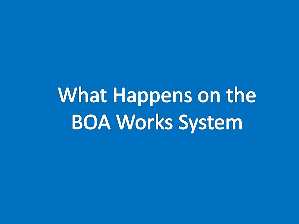 What Happens on the BOA Works System