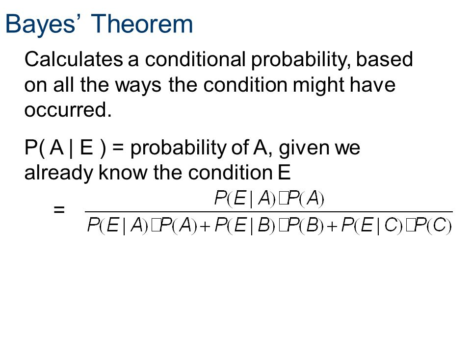 Probability Bayes' Theorem. Principles of EngineeringTM. Unit 4 – Lesson 4.1 - Statistics.