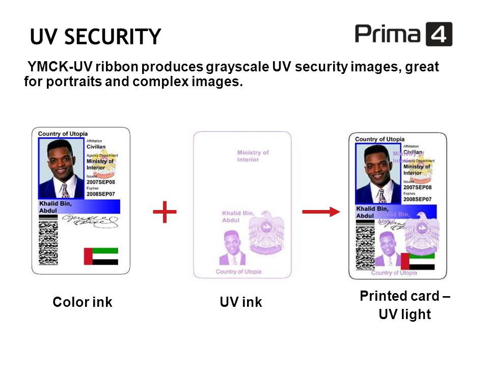 UV SECURITY YMCK-UV ribbon produces grayscale UV security images, great for portraits and complex images.