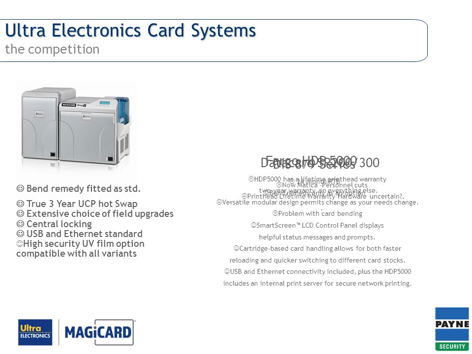 Ultra Electronics Card Systems the competition