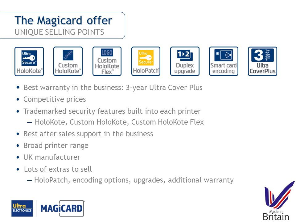 The Magicard offer UNIQUE SELLING POINTS